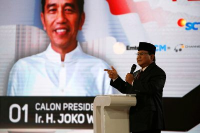 Indonesia's presidential candidate Prabowo Subianto speaks during a televised debate with his opponent Joko Widodo in Jakarta, Indonesia, 30 March 2019 (Photo: Reuters/Willy Kurniawan).