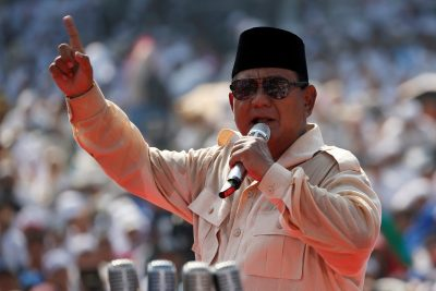 Indonesia's presidential candidate Prabowo Subianto speaks during a campaign rally with his running mate Sandiaga Uno in Jakarta, Indonesia, 7 April 2019 (Photo: Reuters/Willy Kurniawan).