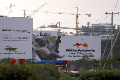 A billboard displays an Australian koala and a statement declaring Australia's support for Papua New Guinea a day after the Asia PacificEconomic Cooperation (APEC) forum ended, in Port Moresby, Papua New Guinea, 19 November 2018. (Photo: Reuters/David Gray).