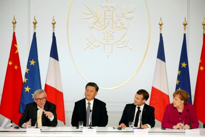 French President Emmanuel Macron, Chinese President Xi Jinping, German Chancellor Angela Merkel and European Commission President Jean-Claude Juncker hold a news conference at the Elysee Palace in Paris, France, 26 March 2019 (Photo: Thibault Camus/Pool via Reuters).