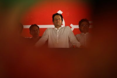 Imran Khan looks on during a campaign meeting ahead of general elections in Islamabad, Pakistan, 21 July 2018 (Photo: Reuters/Athit Perawongmetha).
