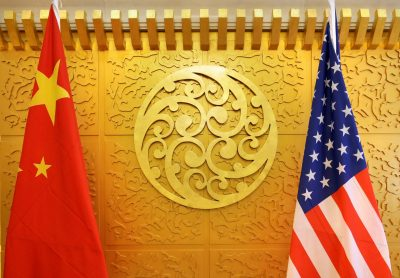 Chinese and US flags are set up for a meeting in Beijing, China, 27 April 2018 (Photo: REUTERS/Jason Lee)