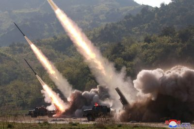 Missiles are seen launched during a military drill in North Korea, 10 May 2019 (Photo: Korean Central News Agency via Reuters).