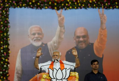 India's Prime Minister Narendra Modi gestures as he addresses his supporters during a public meeting in Ahmedabad, India, 26 May 2019. (Photo: Reuters/Amit Dave).