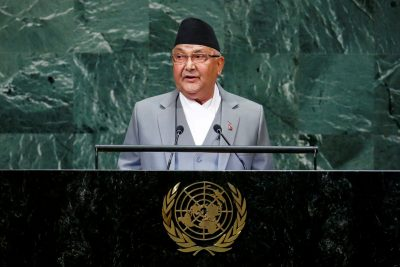 Nepal's Prime Minister Khadga Prasad Sharma Oli addresses the 73rd session of the United Nations General Assembly at the UN headquarters in New York, 27 September 2018 (Photo: Reuters/Eduardo Munoz/File Photo).