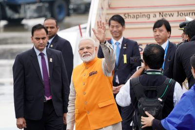 Indian Prime Minister Narendra Modi arrives at Kansai International Airport ahead of the start of the G20 leaders' summit in Izumisano, Osaka prefecture, Japan, 27 June 2019 (Photo: G20 Osaka Summit Photo/Handout via Reuters).