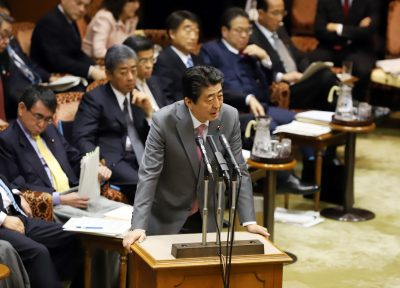 Japanese Prime Minister Shinzo Abe answers a question at the upper house's budget committee session at the National Diet in Tokyo, Japan, 27 March 2019 (Photo: Yoshio Tsunoda/AFLO/Reuters).