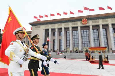 Chinese People's Liberation Army (PLA) honor guards prepare for a welcome ceremony at the Great Hall of the People in Beijing, China, 28 April 2019 (Photo: Parker Song/Pool/Reuters).