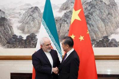 Chinese Foreign Minister Wang Yi meets Iranian Foreign Minister Mohammad Javad Zarif at Diaoyutai State Guesthouse in Beijing, China, 17 May 2019. (Photo: Reuters/Thomas Peter).