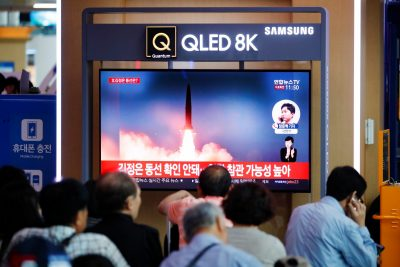 People watch a TV that shows a North Korean missile for a news report on North Korea firing short-range ballistic missiles, in Seoul, South Korea, 31 July 2019 (Picture: Reuters/Kim Hong-Ji).