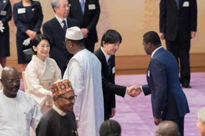 Japan's Crown Prince Akishino and Crown Princess Kiko greet leaders of the African nations attending the seventh Tokyo International Conference on African Development (TICAD) during a tea party at the Imperial Palace in Tokyo, Japan, 30 August 2019 (Photo: Reuters/Imperial Household Agency of Japan/Handout).