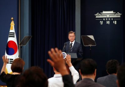 South Korean President Moon Jae-in speaks during a news conference at the Presidential Blue House in Seoul, South Korea (Photo: Reuters/Kim Hong-Ji).