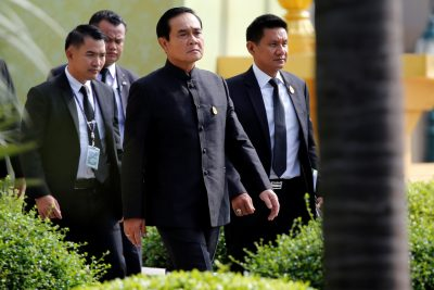 Thai Prime Minister Prayuth Chan-o-cha arrives at Government House to attend a weekly cabinet meeting as the junta marked the third anniversary of a military coup in Bangkok, Thailand, 23 May 2017 (Photo: Reuters/Jorge Silva).
