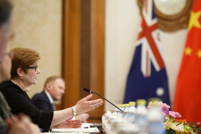 Australian Foreign Minister Marise Payne attends talks to her Chinese counterpart Wang Yi (not pictured) at the Diaoyutai State Guesthouse in Beijing, China, 8 November 2018 (Photo: Reuters/Thomas Peter/Pool).