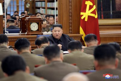 North Korean leader Kim Jong Un speaks during the Third Enlarged Meeting of the Seventh Central Military Commission (CMC) of the Workers' Party of Korea (WPK) in this undated photo released on 21 December 2019 by North Korea's Korean Central News Agency (KCNA) (Photo: Reuters).