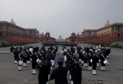 "Members of the Indian military band take part in the rehearsal for the ""Beating the Retreat"" ceremony in New Delhi, India, 22 January 2019 (Photo: REUTERS/Anushree Fadnavis)."