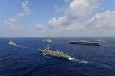 Vessels from the U.S. Navy, Indian Navy, Japan Maritime Self-Defense Force and the Philippine Navy sail in formation at sea, in this recent taken handout photo released by Japan Maritime Self-Defense Force on 9 May 2019 (Japan Maritime Self-Defense Force via Reuters).