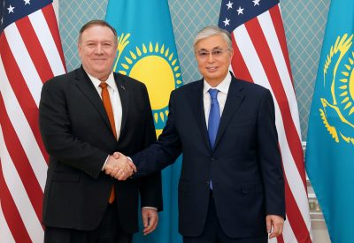 US Secretary of State Mike Pompeo meets Kazakh President Kassym-Jomart Tokayev at the Akorda presidential residence in Nur-Sultan, Kazakhstan, 2 February 2020 (Photo: Reuters/Kevin Lamarque).