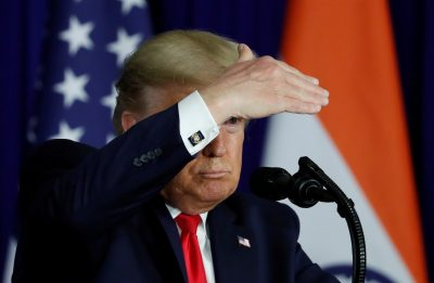 US President Donald Trump gestures during a news conference in New Delhi, India, 25 February 2020 (Picture: REUTERS/Al Drago).
