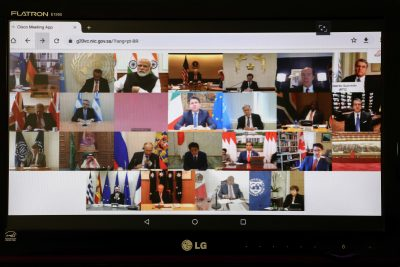 Video conference of G20 leaders, 26 March 2020 (Photo: Marcos Corrêa/PR via Agencia Brasil; Creative Commons).