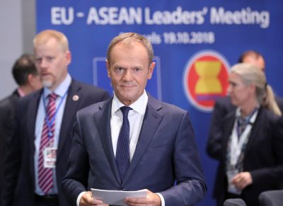 Former European Council President Donald Tusk attends the EU-ASEAN meeting on the sidelines of the EU-ASEM summit in Brussels, Belgium, 19 October 2018 (Photo: Reuters/Olivier Hoslet).