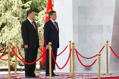 China's President Xi Jinping and Kyrgyzstan's President Sooronbay Jeenbekov attend a welcoming ceremony ahead of their talks in Bishkek, Kyrgyzstan 13 June 2019 (Reuters/Vladimir Pirogov).