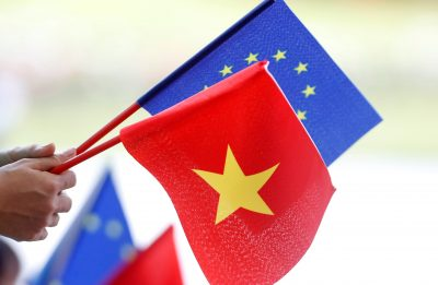 European Union and Vietnamese flags are seen at the signing ceremony of EU-Vietnam Free Trade Agreement at the government office in Hanoi, Vietnam, 30 June 2019 (Photo: Reuters/Kham).