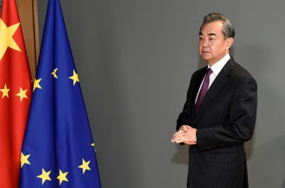 Chinese Foreign Minister Wang Yi waits before a meeting with European Council President Charles Michel at the EU council headquarters in Brussels, Belgium, 17 December 2019 (Photo: Reuters/John Thys).