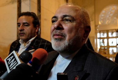 Iran's Foreign Minister Javad Zarif speaks with the media on the sidelines of a security conference in New Delhi, India, 15 January 2020 (Photo: Reuters/Alasdair Pal).