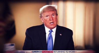 Screenshot of Donald Trump during his intervention on Fox News, 3 May 2020 (Photo: Reuters).