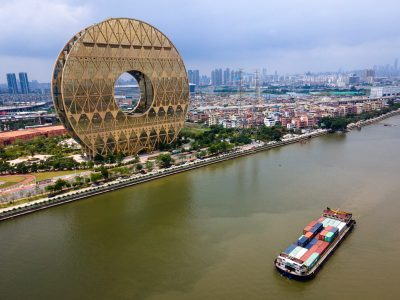 """""""The Guangzhou Circle"""" stands on the bank of the Pearl River (Photo: Reuters)."""