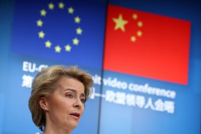 European Commission President Ursula von der Leyen and European Council President Charles Michel (not pictured) attend a news conference following a virtual summit with Chinese President Xi Jinping in Brussels, Belgium, 22 June 2020 (Reuters/Yves Herman/Pool).