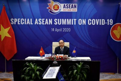 Vietnam's Prime Minister Nguyen Xuan Phuc addresses a special video conference with leaders of the Association of Southeast Asian Nations (ASEAN) on the coronavirus disease (COVID-19), in Hanoi, Vietnam, 14 April 2020 (Photo: Reuters/Manan Vatsyayana).
