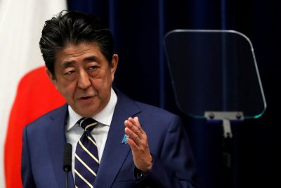 Japan's Prime Minister Shinzo Abe holds a news conference on Japan's response to the coronavirus disease (COVID-19) outbreak, at his official residence in Tokyo, Japan, 28 March 2020 (Reuters/Issei Kato).