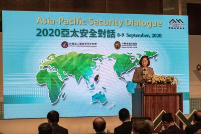 Taiwanese President Tsai Ing-wen seen on stage delivering her speech at the Asia Pacific Security Dialogue forum, Taipei, Taiwan, 8 September 2020 (Photo: Sipa USA/Walid Berrazeg).