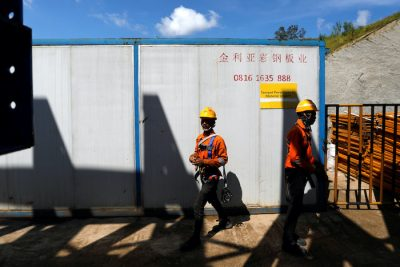 Labourers walk at Walini tunnel construction site for Jakarta-Bandung High Speed Railway in West Bandung regency, West Java province, Indonesia, February 21, 2019. Picture taken 21 February, 2019 (Photo: Reuters/Kurniawan).