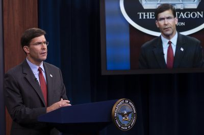 Secretary of Defense, Mark T. Esper, during a press conference. The Republic of Palau has asked the Pentagon to build ports, bases and airfields in the island nation, offering a boost to the plans of military expansion of the United States in Asia. Washington, United States, 8 September, 2020 (Reuters).