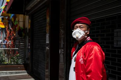 Wally Ng, a member of the Guardian Angels, poses during the outbreak of COVID-19 in New York City, New York, United States, 16 May 2020 (Photo: Reuters/Jeenah Moon).