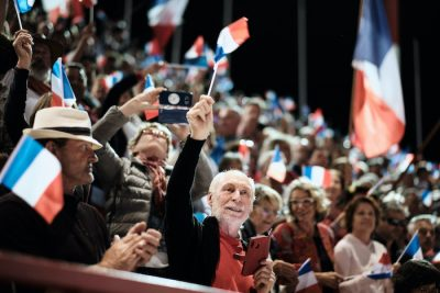"""1 October 2020. Last meeting of the Loyalists for the """"NO"""" in the self-determination referendum of New Caledonia (Photo: Reuters/Theo Rouby/Hans Lucas)."""