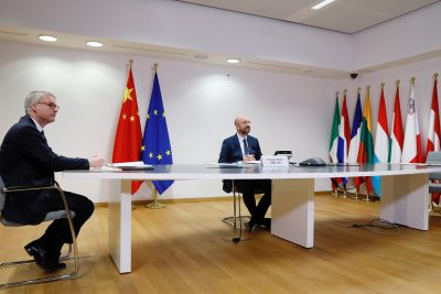 The President of the European Council, Charles Michel, attends the 22nd videoconference meeting of leaders of China and the European Union (EU) in Brussels, Belgium, on 22 June 2020 (Photo: Reuters).