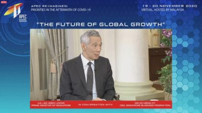 Singapore's Prime Minister Lee Hsien Loong speaks during a CEO Dialogue forum via video link, ahead of the Asia-Pacific Economic Cooperation (APEC) leaders' summit, hosted by APEC Malaysia, 19 November, 2020 (Photo: via Reuters TV).