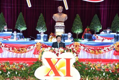 Laos' Prime Minister Thongloun Sisoulith (C) who was named as new secretary general of Laos Communist Party speaks at the closing ceremony of the 11th national congress of the communist party of Laos in Vientiane, Laos, 15 January 2021 (Photo: Reuters).