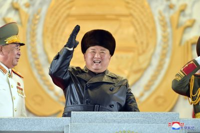 North Korean leader Kim Jong-un gestures during a parade in Pyongyang, 15 January 2021 (Photo: KCNA via Reuters).