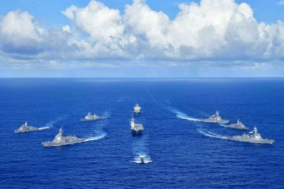 Royal Australian Navy, Republic of Korea Navy, Japan Maritime Self-Defense Force and United States Navy warships sail in formation during the Pacific Vanguard 2020 exercise, 11 September 2020 (Photo: Reuters/ABACAPRESS).