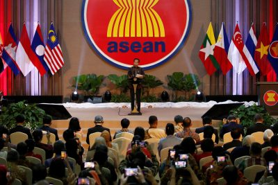 Indonesian president Joko Widodo delivers a speech during the Inauguration of the new ASEAN Secretariat Building in Jakarta, Indonesia, 8 August 2019 (Photo: Reuters/Willy Kurniawan).