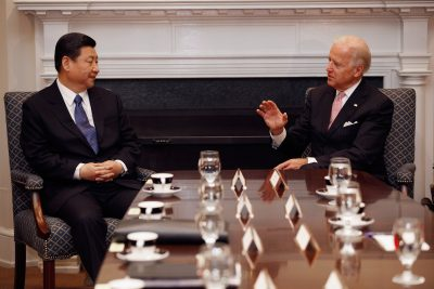 Joe Biden and Xi Jinping hold an expanded bilateral meeting with other US and Chinese officials in the Roosevelt Room at the White House in Washington on 14 February 2012 (Photo: Chip Somodevilla/Pool/abacapress.com via Reuters).