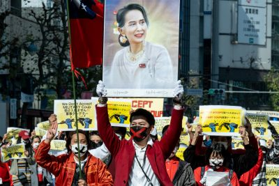 Demonstrators gathered near Yoyogi Park and marched down to Shibuya to protest against the military coup and demanded the release of Aung San Suu Kyi, 14 February, 2021 (Photo: Viola Kam / SOPA Images/Sipa USA).