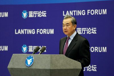 Chinese State Councilor and Foreign Minister Wang Yi delivers a speech at the Lanting Forum in Beijing, China, 22 February, 2021 (Photo: Reuters/Shubing Wang).
