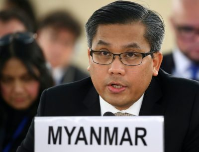 Myanmar's ambassador Kyaw Moe Tun addresses the Human Rights Council at the United Nations in Geneva, Switzerland, 11 March, 2019 (Photo: Reuters/Balibouse).