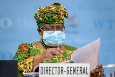 Director-General of the World Trade Organisation Ngozi Okonjo-Iweala attends a session of the WTO General Council at the WTO headquarters in Geneva, Switzerland, 1 March 2021 (Photo: Fabrice Coffrini/Pool via Reuters).